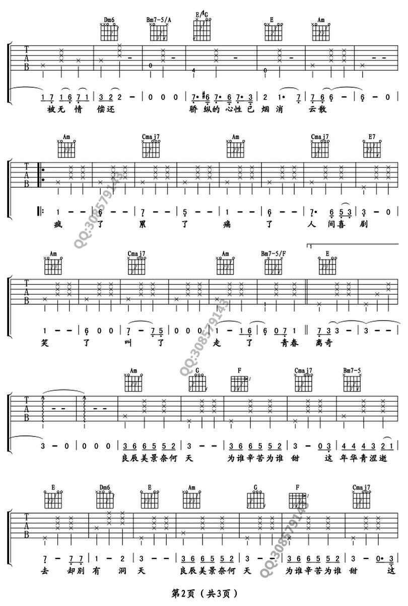 致青春 - 王菲 - 吉他譜 - Chord4