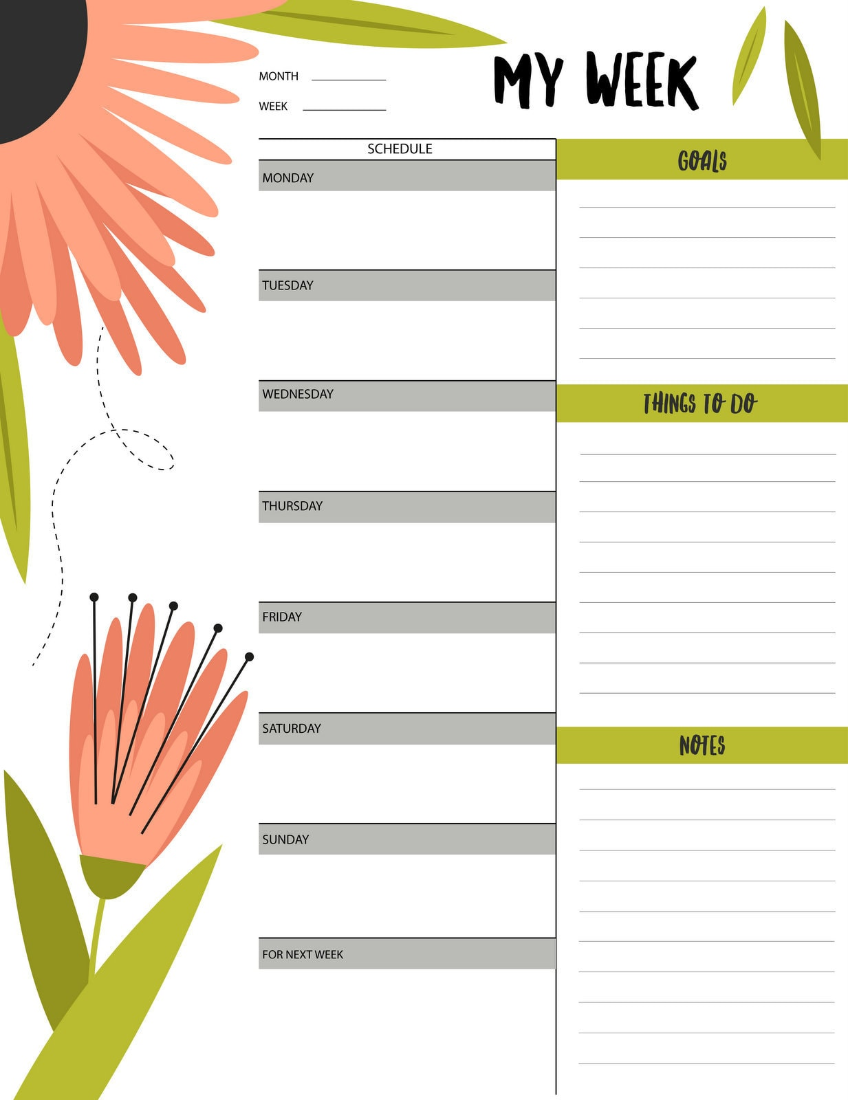 Floral My Week Schedule Amp To Do List Printable