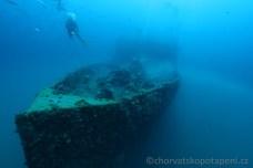 Baron Gautsch od přídě, potápění v Chorvatsku