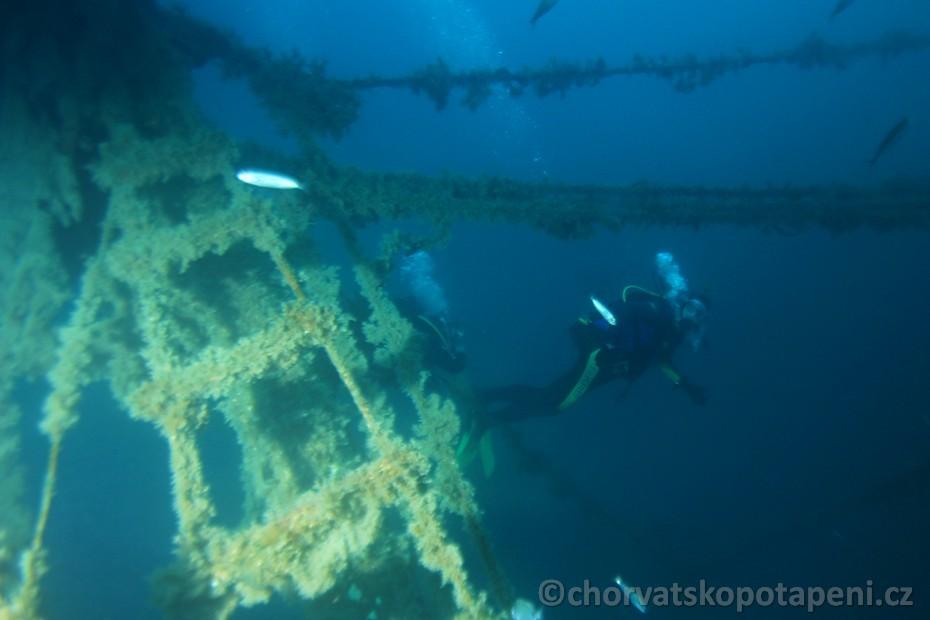 Stěžeň Goluba, potápění v Chorvatsku