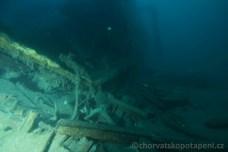 Pod vrakem Golub, potápění v Chorvatsku