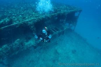Výstup od vraku B.Gautsch, Chorvatsko potápění