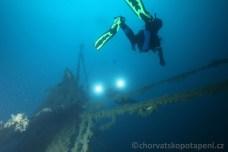Výstup od vraku, potápění v Chorvatsku