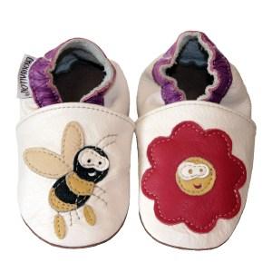 chaussons en cuir souple abeille