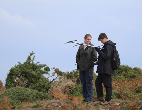 Bea and Simon monitoring the choughs with radio tags