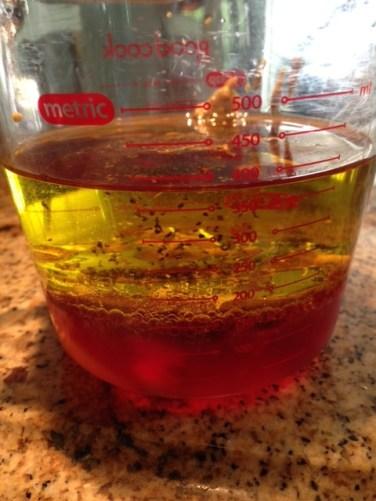 1/2 cup red wine vinegar, 1 cup olive oil, 2 tablespoon dijon mustard, 1/2 tsp black pepper, 1/2 tsp of sugar.