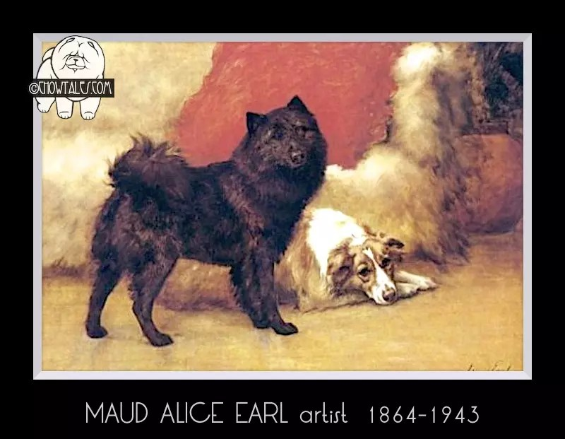 Maud Earl - A Black Chow And A Collie by Maud Earl