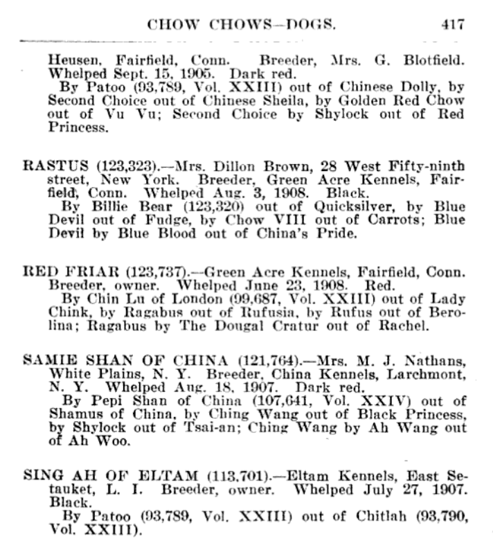 1909 AKC STUDBOOK ENTRIES