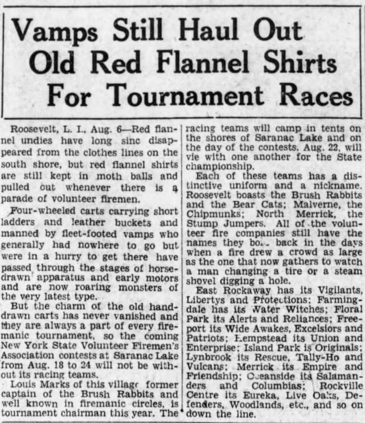 1929 article Saranac Lake NY firemans' convention