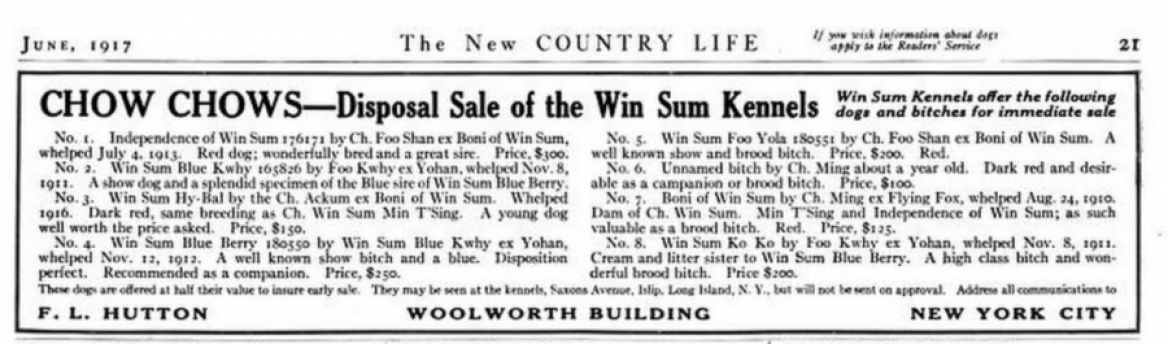 1918 disposal win sum kennels foo shan