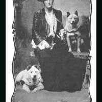 1890's Ethel Mathews – English musical comedy actress with her 2 chows.