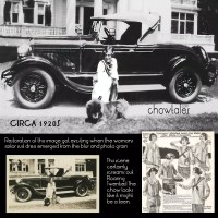 RESTORATION:  1920's Woman in sailor dress with chow and car