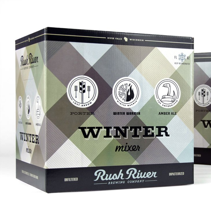 Rush River Winter Mixer Package Design