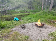 First fire, at Cedar Creek Campground