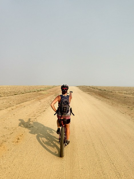 Rachel having fun in WY desert