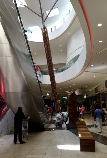 """Modern, multi-story mall - """"just like home,"""" but not very affordable on our PC budgets."""