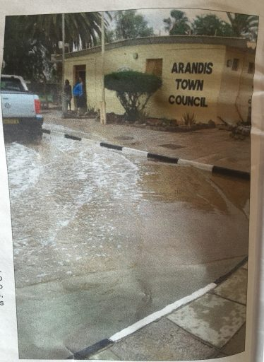 Yesterday's freak rainstorms in Namibia caused flooding at my future office building. This photo made the national newspaper.