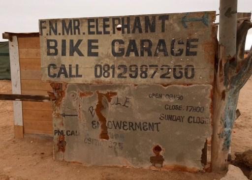 My local bike shop (just 1 ½ hours away): Mr Elephant's Bike Garage outside of Swakopmund.