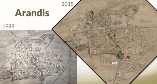 The town itself was created by Rössing to house the black minors brought in from the north of the country while the white managers lived in Swakopmund. This was during the time of South Africa's apartheid administration of the territory, known then as Southwest Africa. These two aerial images show how much the town has NOT changed during this long period of time.