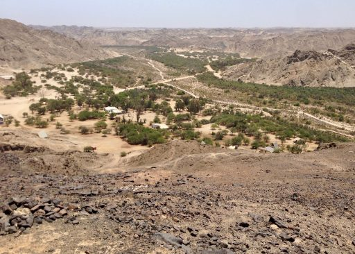 From the south rim, looking down river (West) over the Goanikontes-Oasis compound.