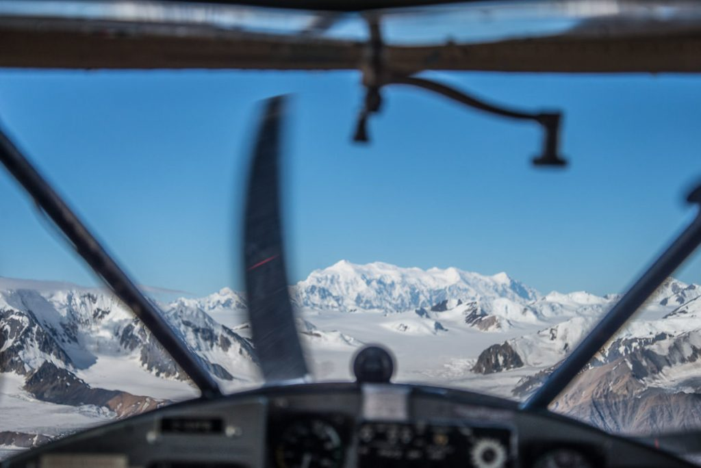 View of Mount Logan as our flightseeing tour comes into land on the glacier.