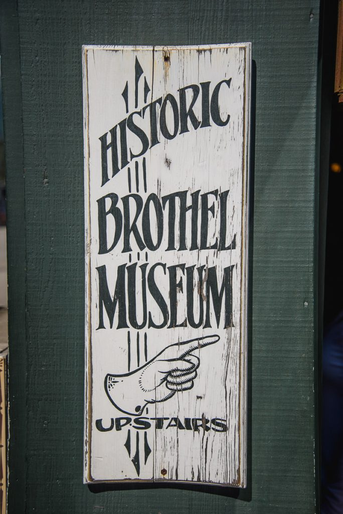 Sign for the historic brothel museum at the Red Onion Saloon in Skagway, Alaska.