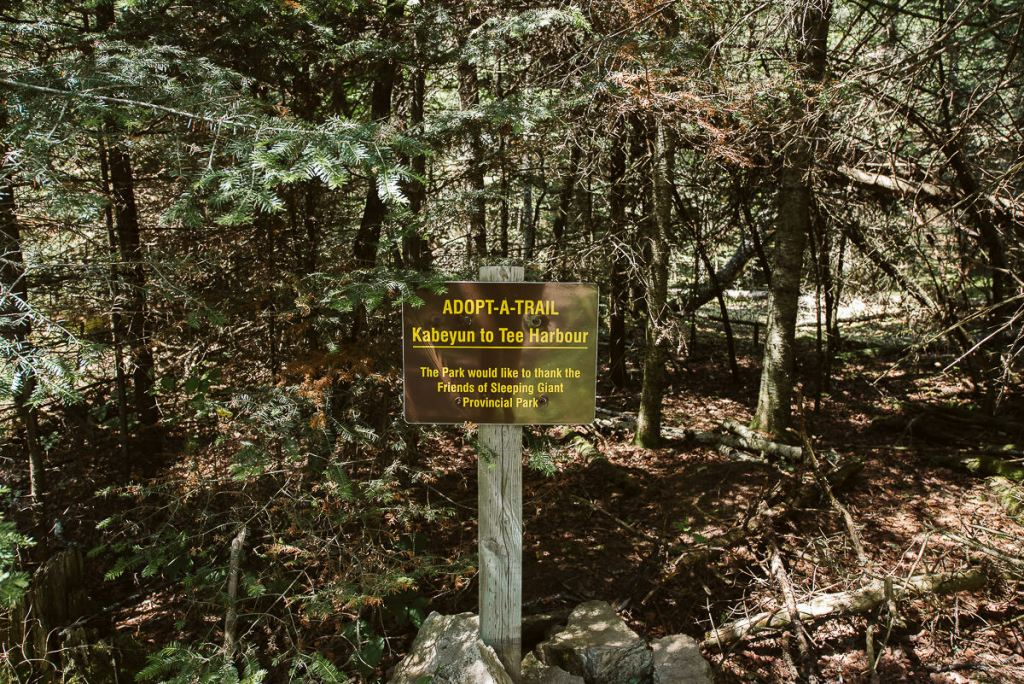 Kabeyun to Tee Harbour Trail sign in Sleeping Giant Provincial Park outside of Thunder Bay in Northern Ontario.