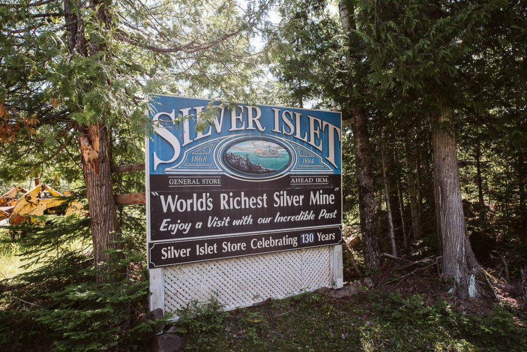 The sign welcoming you to silver islet, home to the world's richest silver mine.