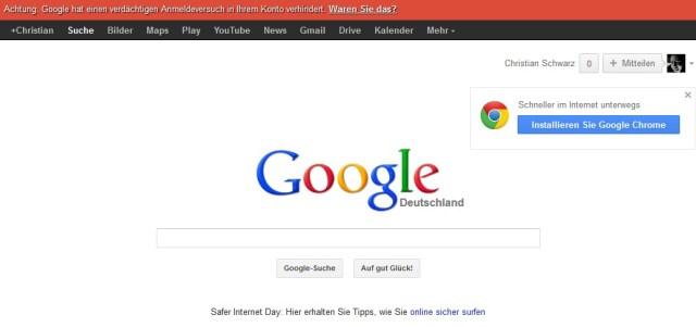 Hinweis von Google