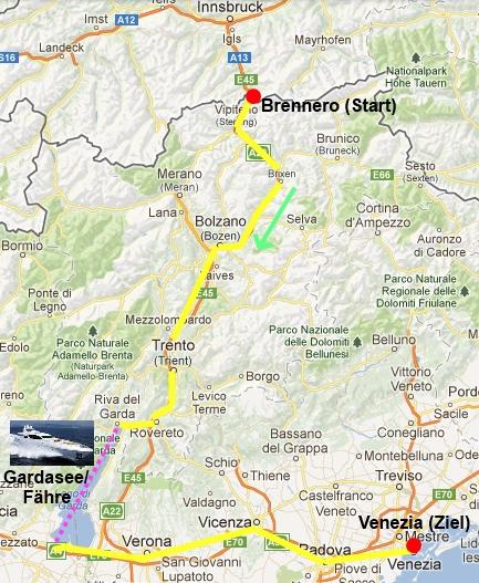 Streckenverlauf Italientour
