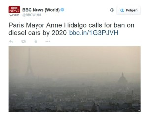 Tweed: Ban Diesel Cars in Paris