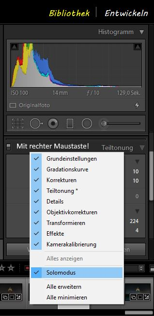 Adobe Lightroom Solo-Modus