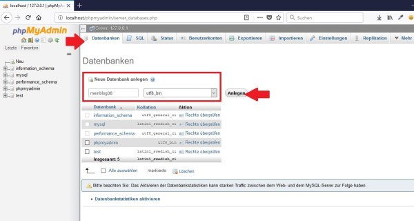 Datenbank anlegen mit phpMyAdmin