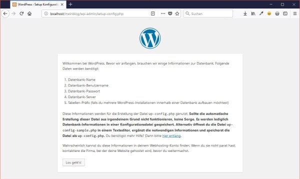WordPress-Installation - Los geht's
