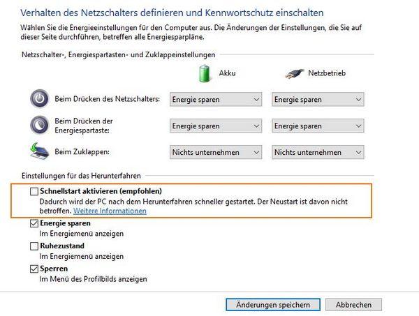 Windows 10 - Schnellstart deaktivieren
