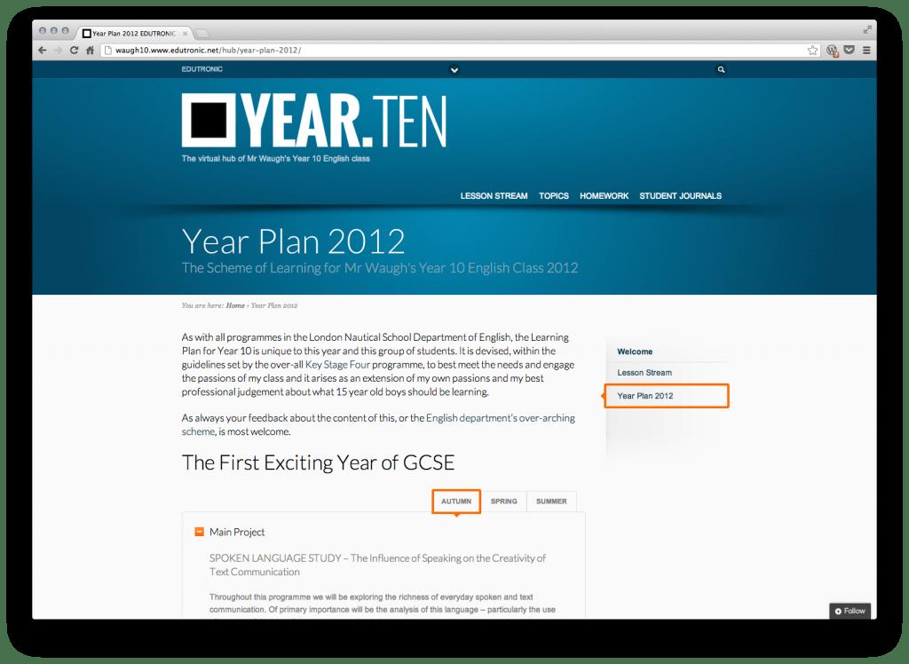01 - Class Blog - Year Plan