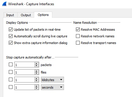 Wireshark's Capture Options