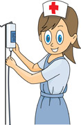 nurse with iv drip