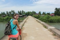 Biking across an old colonial railway track