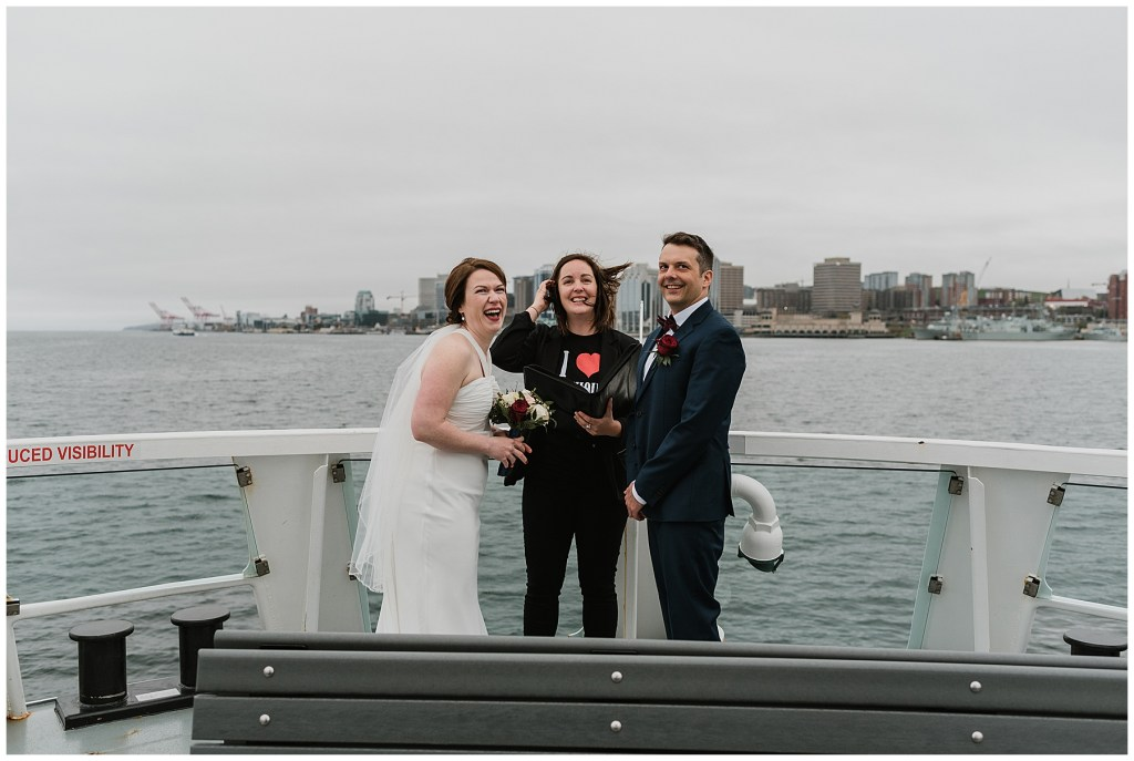 Ferry Boat driver honking their horn in congratulations for elopement on Halifax Ferry