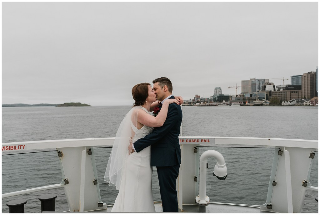 The First kiss after eloping on the Halifax Ferry