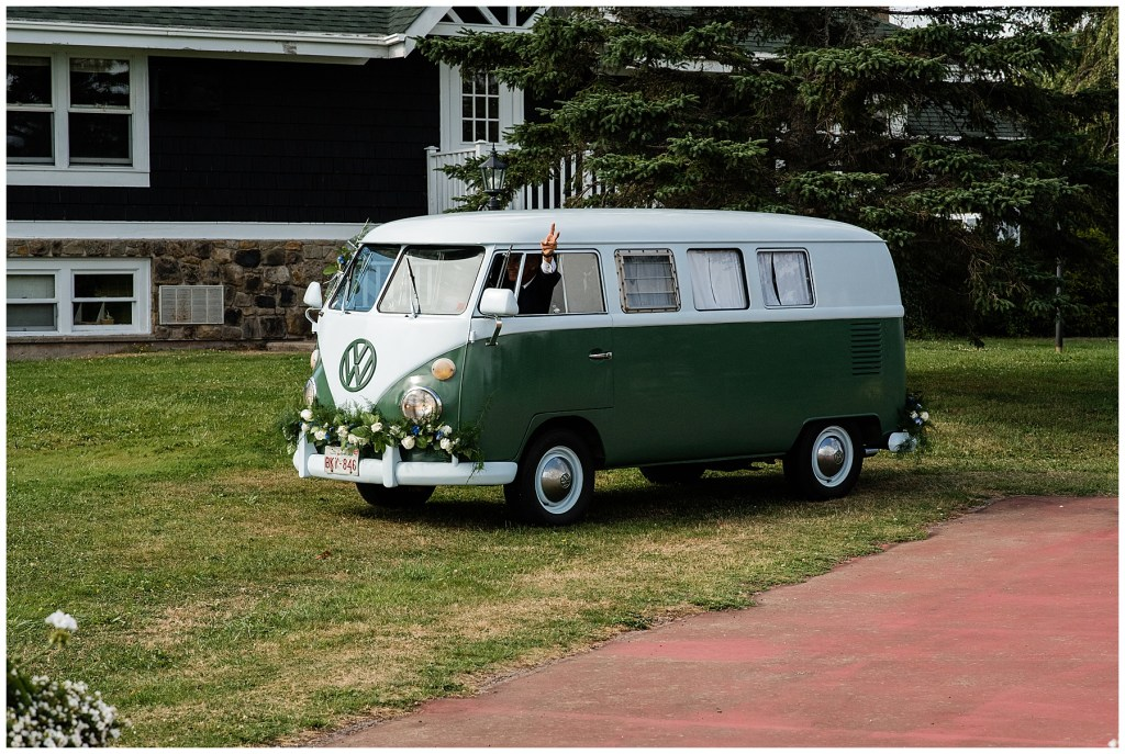 Inverary Resort Wedding Venue VW van brings Bride to lakefront ceremony