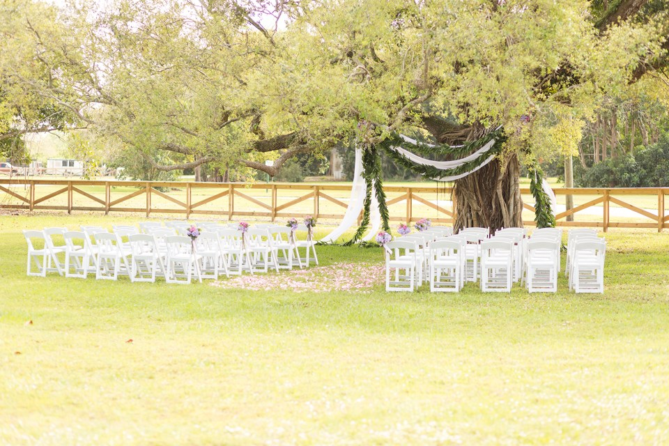 ceremony space at robins lodge under a tree filled with chairs