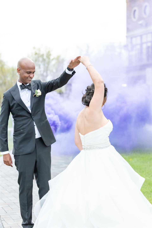 purple smoke bomb wedding portraits