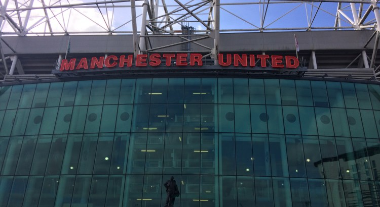 Manchester United sign outside Old Trafford stadium