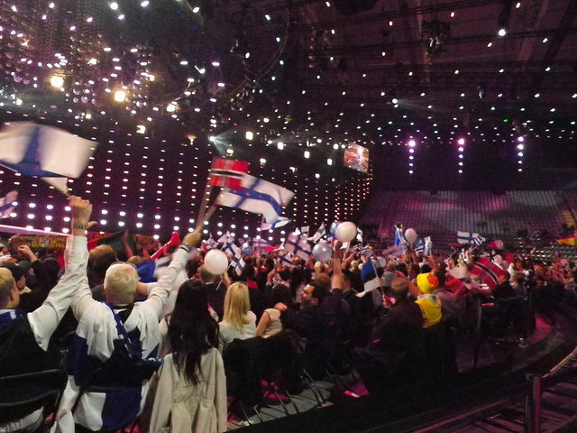 Fans Inside Telenor Arena, Eurovision Song Contest 2010 by SQFreak on flickr.com, via a Creative Commons Attribution-Non-Commercial-Share Alike License.