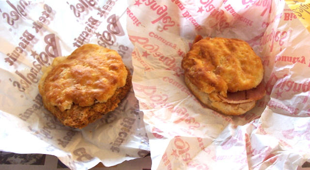 Bojangles Steak Biscuit (left) and Country Ham Biscuit (right)