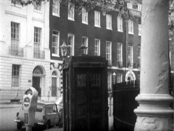 Leafy London Street, with TARDIS