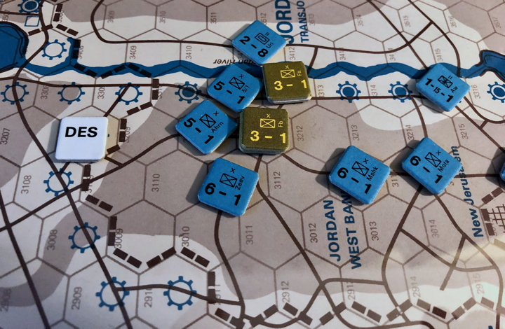 Sinai 1967 Scenario Turn 5 after Israeli Movement Phase, Jordanian Front