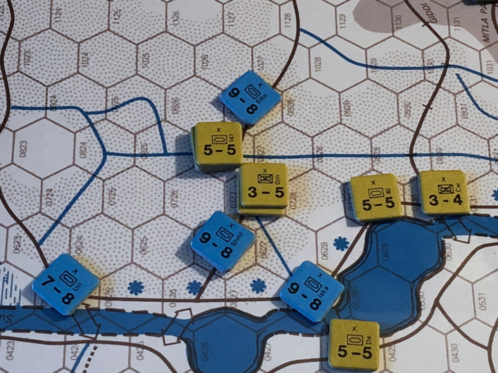 Sinai 1967 Scenario Turn 4 after Israeli Movement Phase, Suez Front